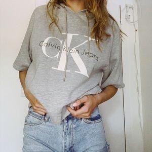 calvin klein short sleeve sweatshirt with hood